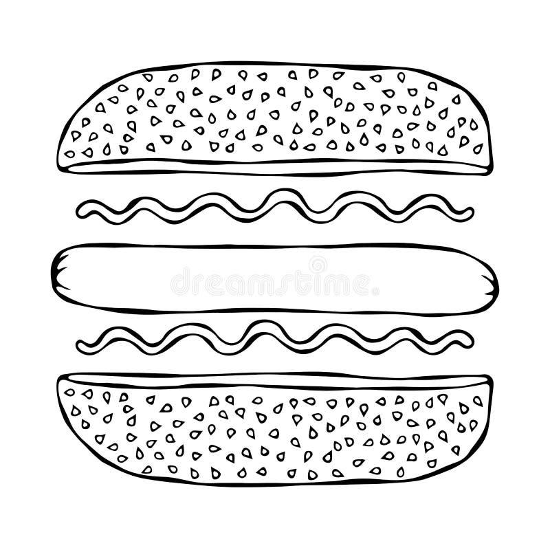 Hotdog Bulle med sesam, korv, ketchup, senap Snabbmatsamling Hand dragen högkvalitativ vektorillustration Klotterstyl royaltyfri illustrationer