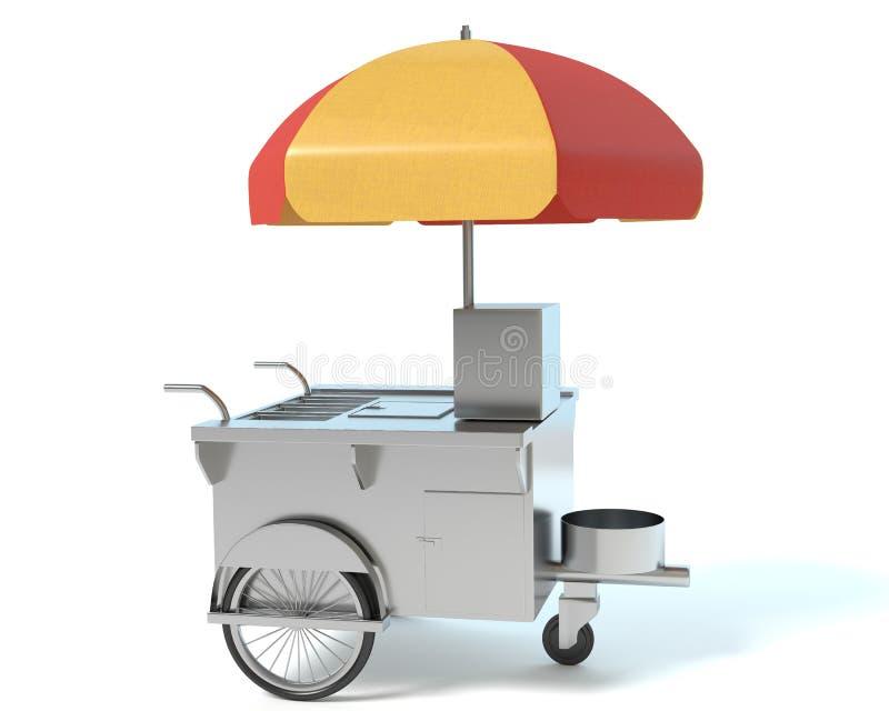 Hotdog Cart. 3d illustration of a hot dog cart vector illustration