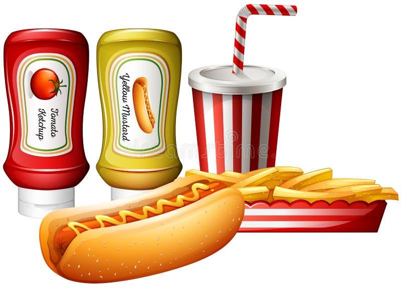 Hotdog e fritadas com tipo dois dos molhos ilustração do vetor