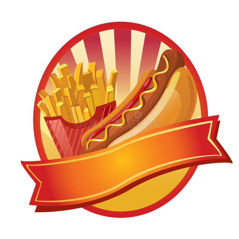 Hotdog en gebraden gerechtenetiket stock illustratie