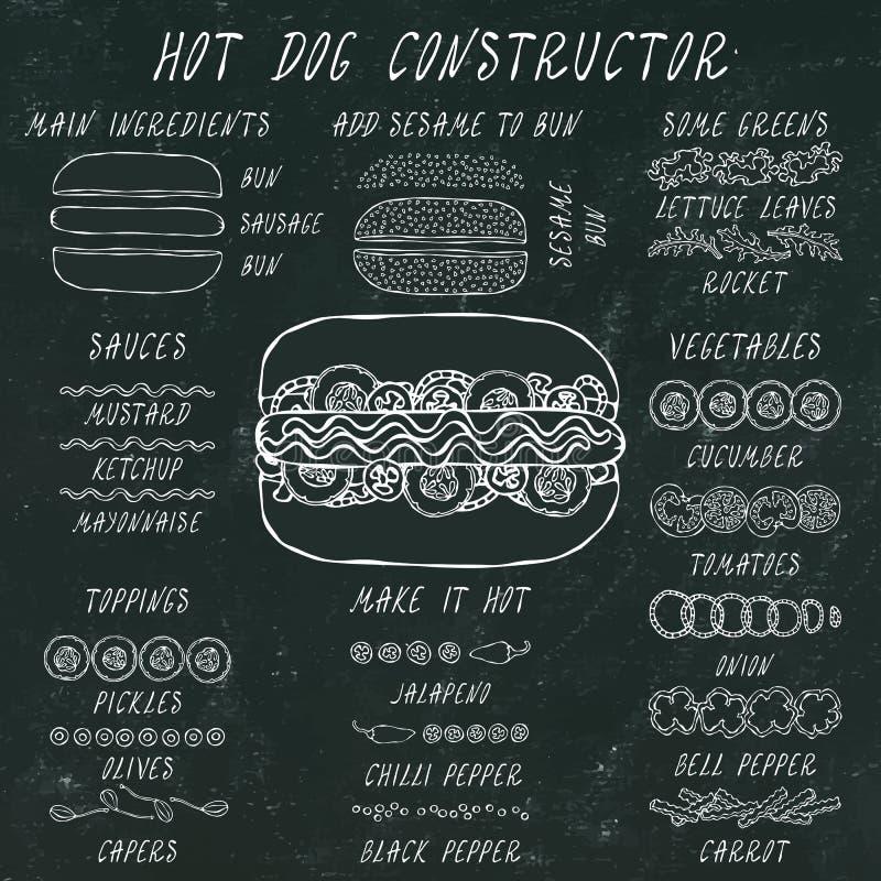 Hotdog-Erbauer Satz Schnellimbiss-Menü-Bestandteile Hand gezeichnete saubere realistische Vektor-Illustration der hohen Qualität  lizenzfreie stockfotos