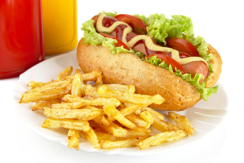 Download Hotdog With French Fries On A Plate On White Stock Photo - Image: 83713254