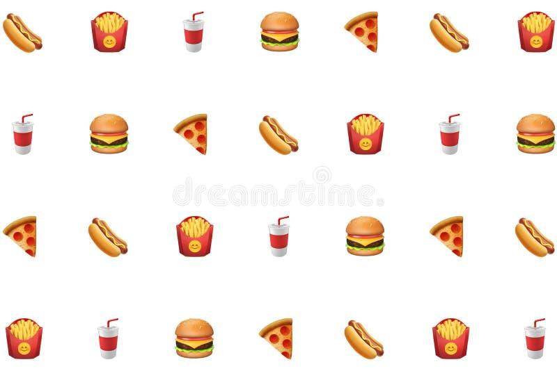 Hotdog, gebraden gerechten, frisdrank, hamburger, pizzaongezonde kost op wit grafisch middel als achtergrond stock foto