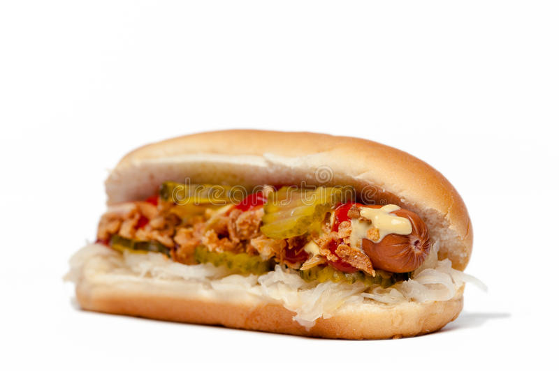 Hotdog/Hot Dog. Side-view isolated on white royalty free stock images