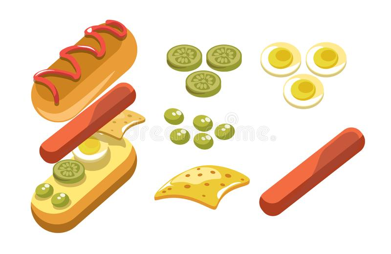 Hotdog ingredients and separate layers shown for fast food recipe. Hotdog ingredients and separate layers shown in detail. Bun, sausage, jalapenos, olives stock illustration