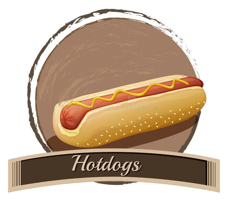 Hotdog label. Illustration of a hotdog label on a white background stock illustration