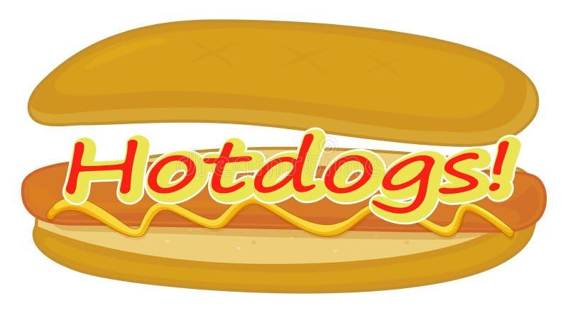 A hotdog label. Illustration of a hotdog label on a white background royalty free illustration