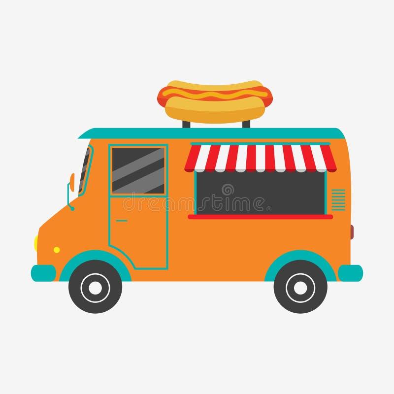 Hotdog-LKW Schnellimbisspackwagen mit Schild in der Form des geschmackvollen Würstchens Auch im corel abgehobenen Betrag lizenzfreie abbildung