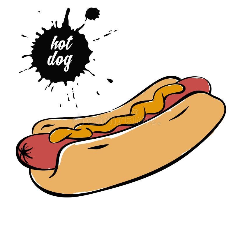 Hotdog med senap royaltyfri illustrationer