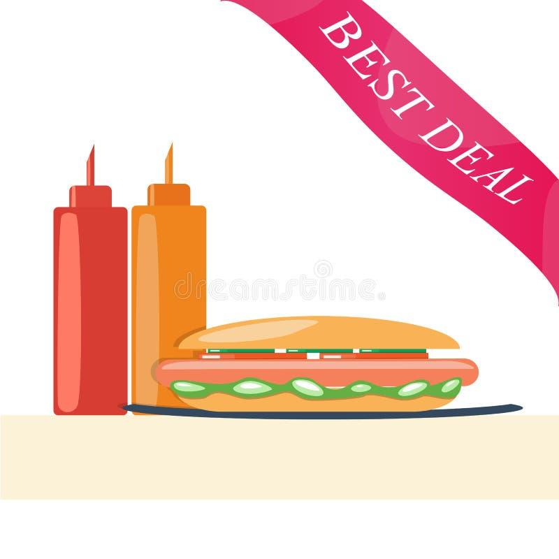 Hotdog met Ketchup en Mosterd royalty-vrije stock fotografie