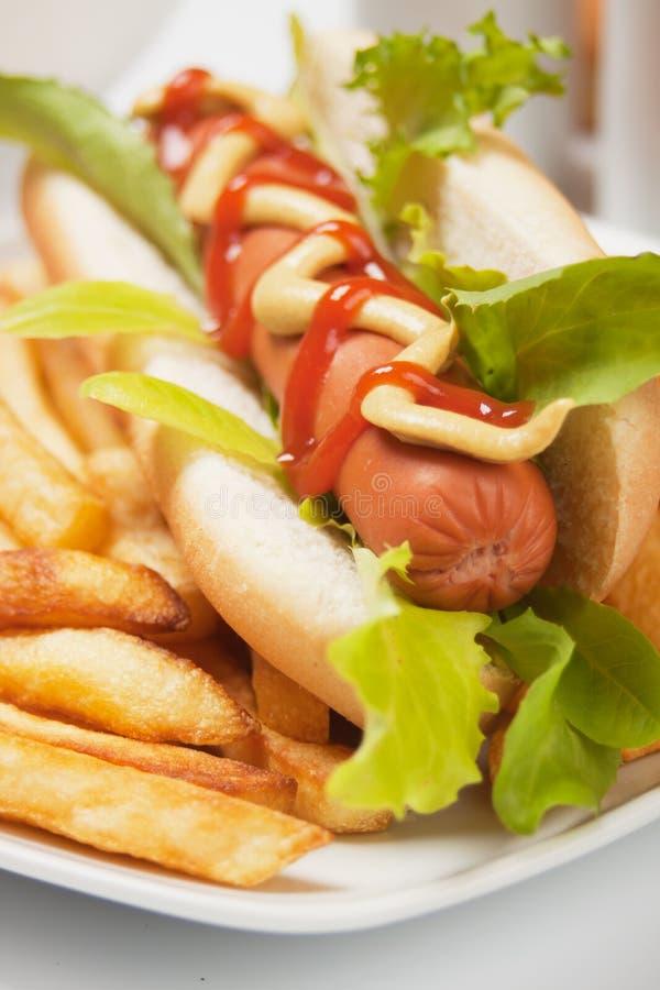 Hotdog mit Kopfsalat und Pommes-Frites lizenzfreie stockfotos