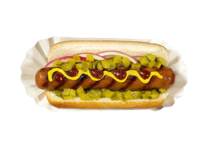 Hotdog with Mustard stock photos