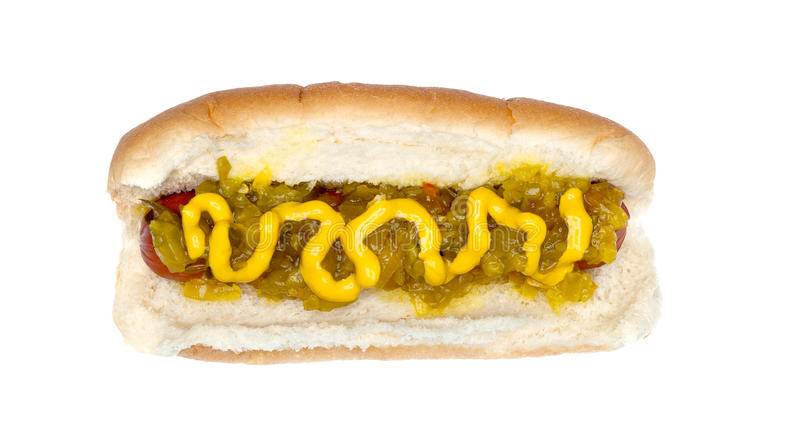 Hotdog with mustard and relish stock photography