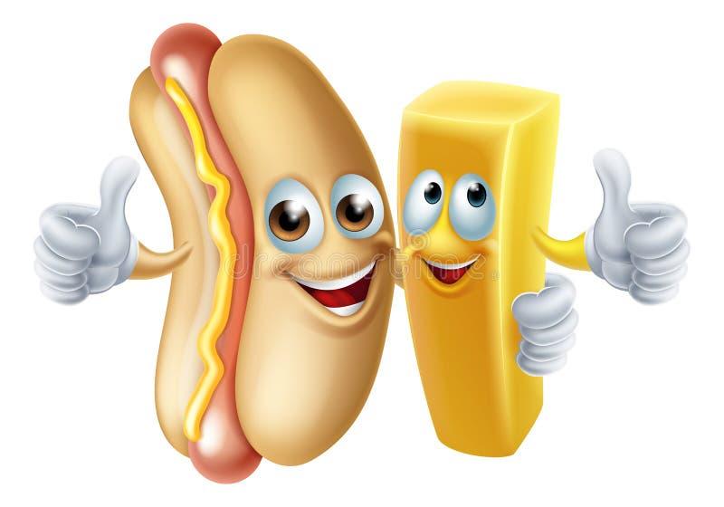Hotdog och Chip Mascots royaltyfri illustrationer