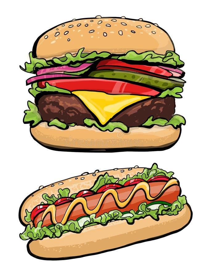 Hotdog- och hamburgareillustrationsnabbmat, arkivfoton