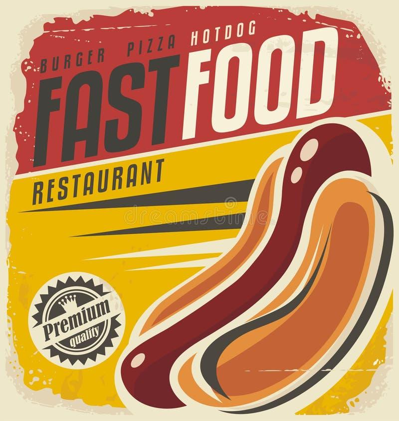 Hotdog retro plakatowy projekt royalty ilustracja