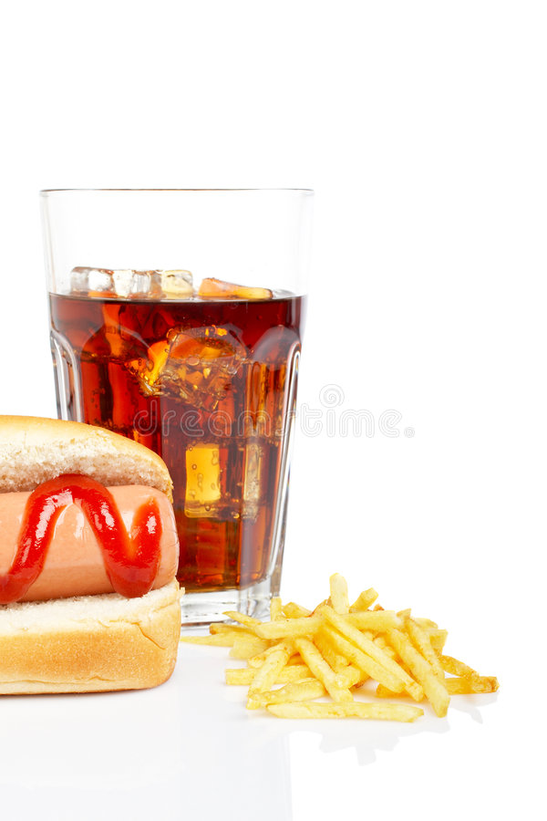 Hotdog, Soda und Pommes-Frites lizenzfreies stockfoto