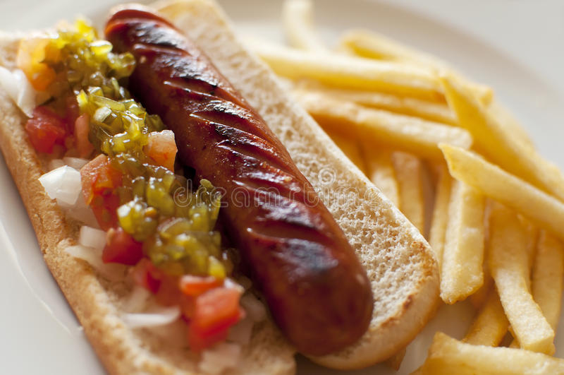 Hotdog und Pommes-Frites stockfotos