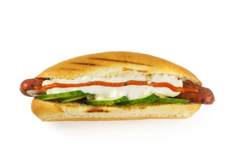 hotdog widok z góry zdjęcie stock