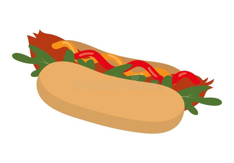Hotdogen med ketchup, senap och arugula spricker ut snabbmat på en vit bakgrund Sänka designstil också vektor för coreldrawillust stock illustrationer