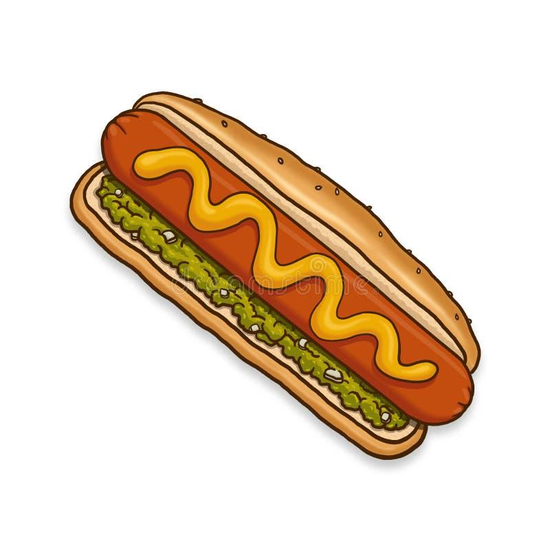 Hotdogillustratie stock illustratie