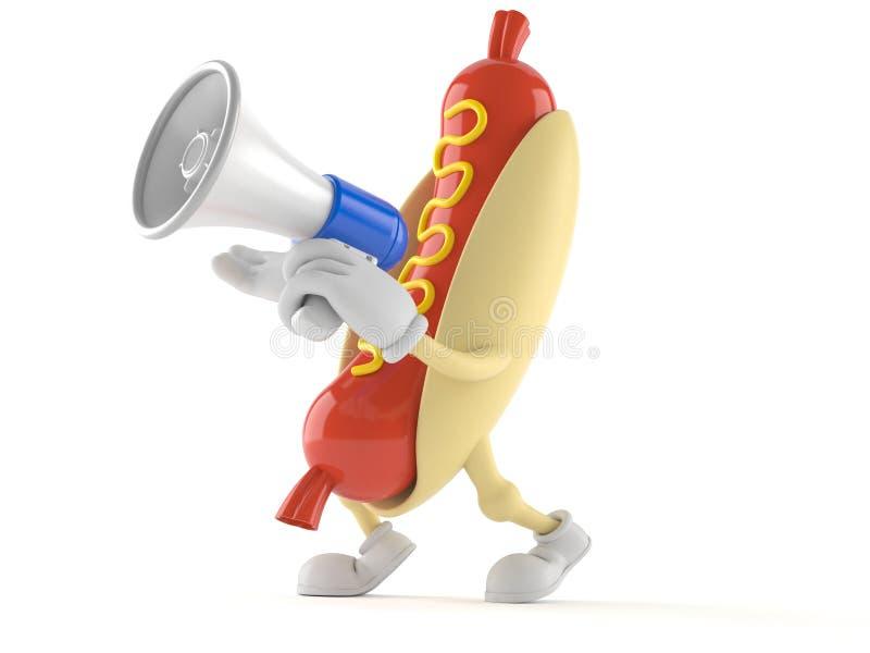Hotdogkarakter die door een megafoon spreken stock illustratie