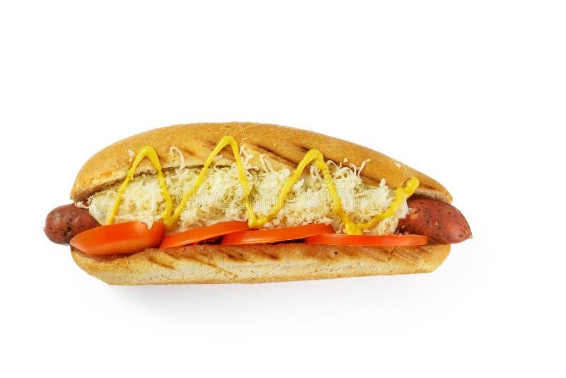 hotdogmening van hierboven stock afbeelding