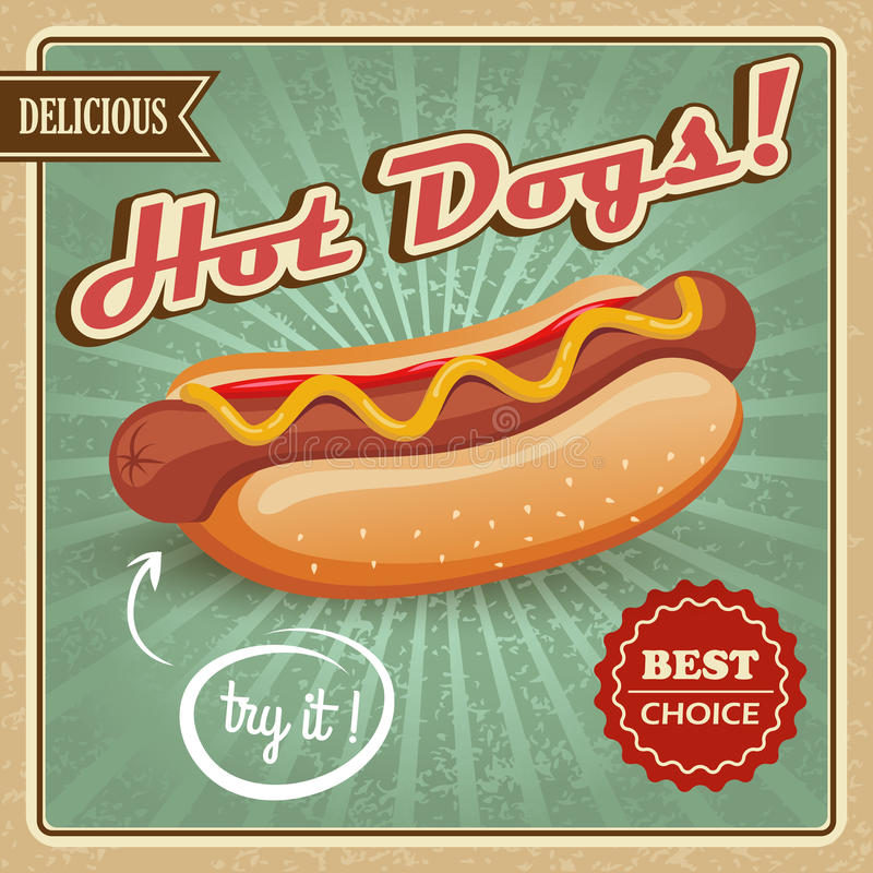 Hotdogplakat stock abbildung