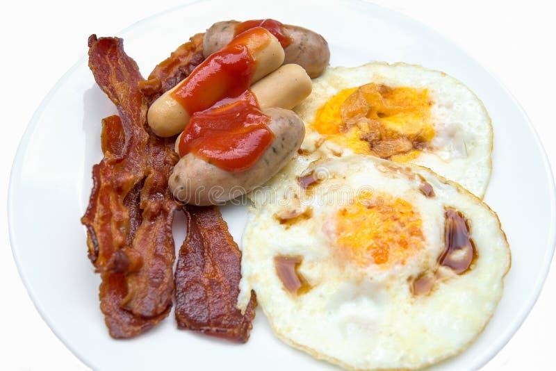 Hotdogs, bacon en eieren stock foto's