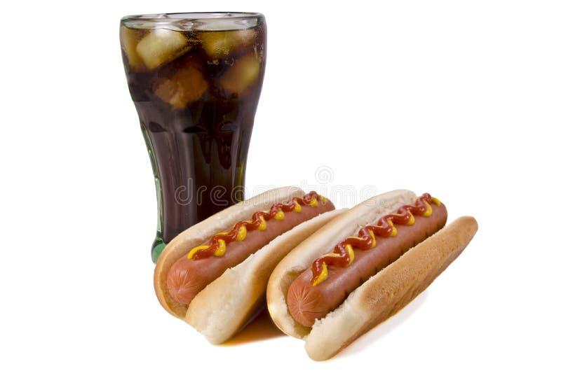 Hotdogs en kola royalty-vrije stock foto