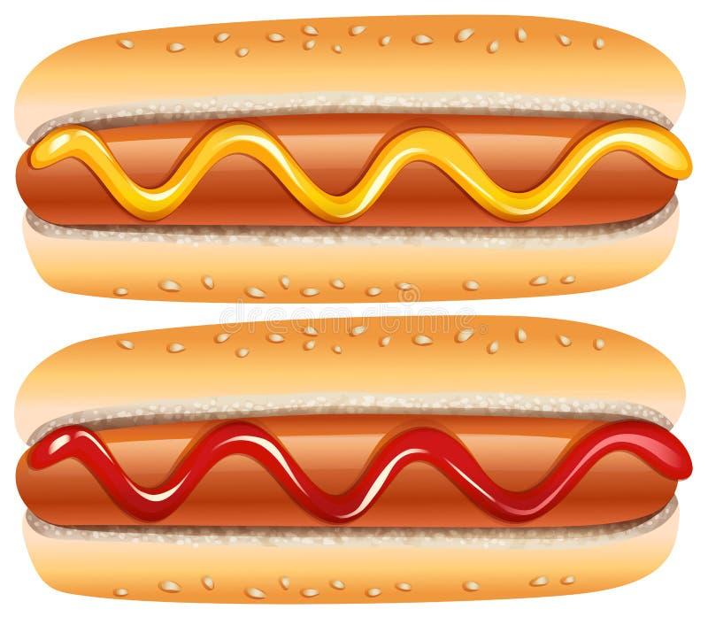 Hotdogs med senap och ketchup stock illustrationer