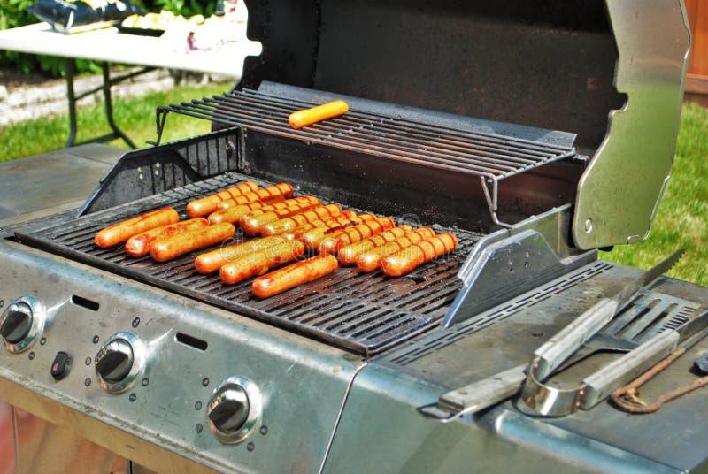 Hotdogs na grillu przy latem bawją się zdjęcia stock