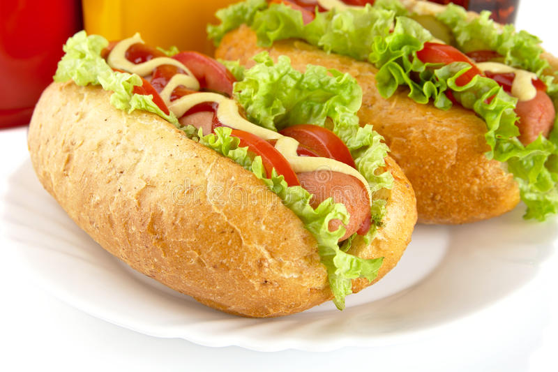 Download Hotdogs On Plate With Cola On White Background Stock Photo - Image: 83712062