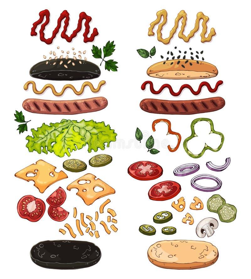 Hotdogs realistyczni ilustracja wektor
