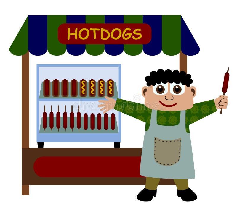 hotdogstand royaltyfri illustrationer
