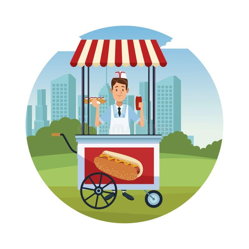 Hotdogstandkarikatur stock abbildung