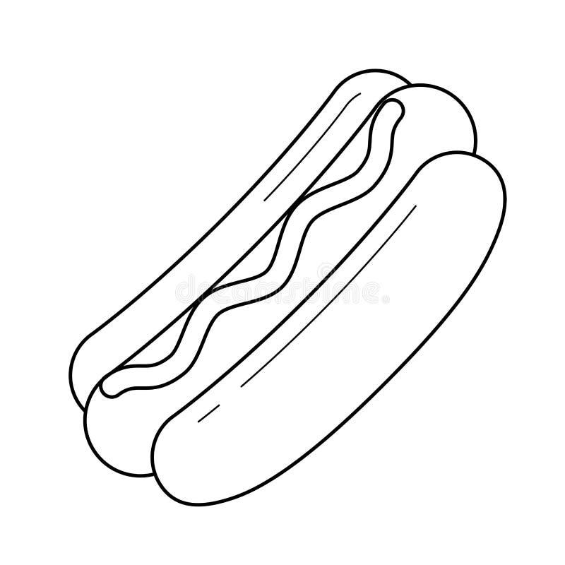 Hotdogvektorlinje symbol royaltyfri illustrationer