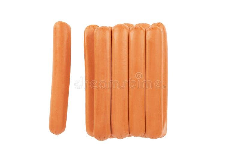 Hotdogwürste lokalisiert auf einem weißen Hintergrund Beschneidungspfad eingeschlossen lizenzfreies stockbild