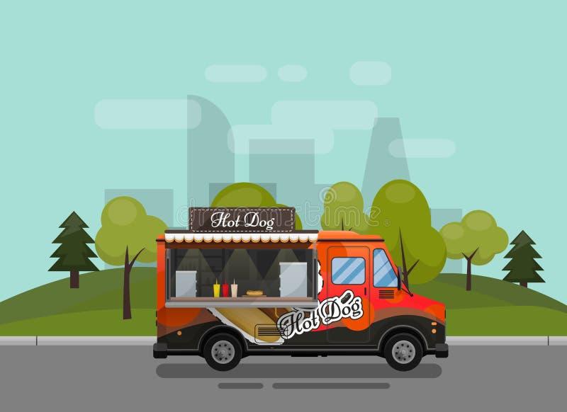 Hotdogwarenkorb, Kiosk auf Rädern, Einzelhändler, schnelles Snackfrühstück, Schnellimbiß und flache Art, gegen lizenzfreie abbildung