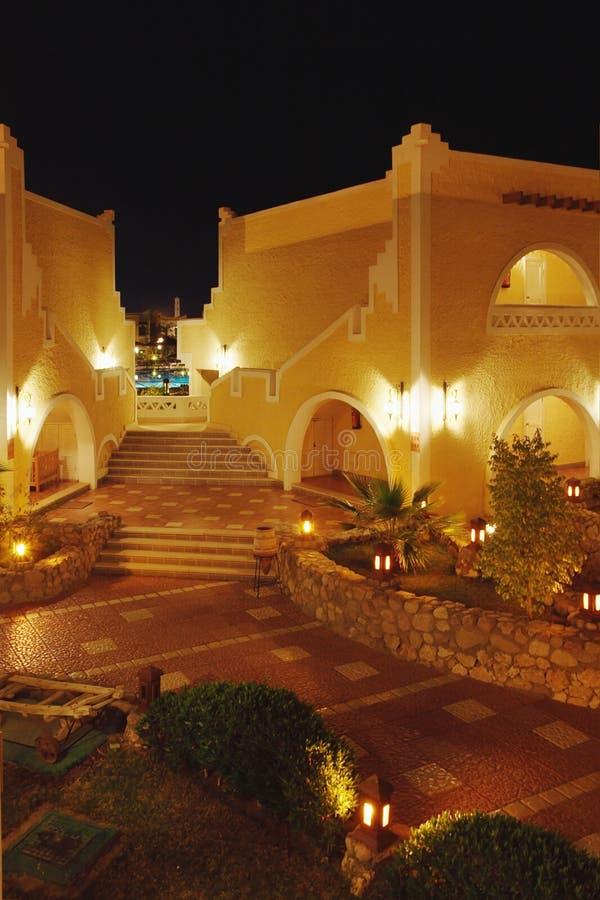 Hotel in Ägypten mit Ablichtung stockbilder