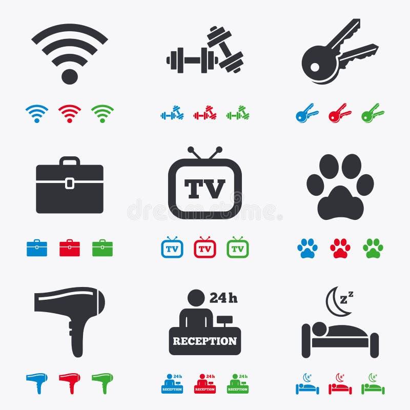 Hotel, ícones do serviço do apartamento Internet de Wi-Fi ilustração do vetor