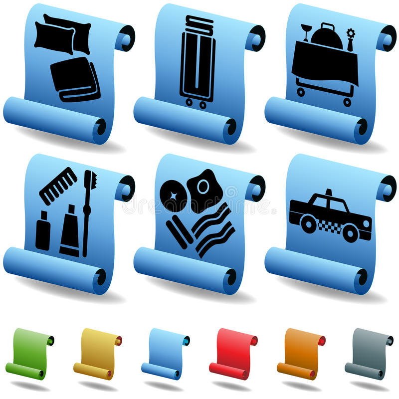Download Hotel 3D Scroll Button Set stock vector. Illustration of tray - 9382874