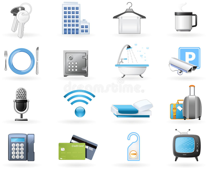Hotel accommodation amenities. Icon set - Hotel accommodation amenities and services stock illustration
