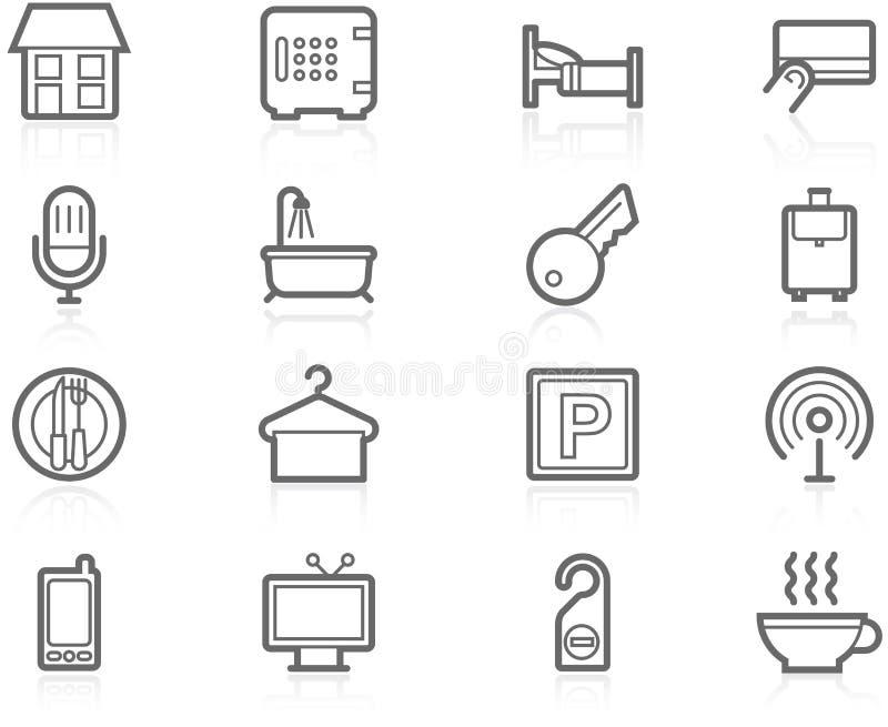 Hotel accommodation amenities. Icon set - Hotel accommodation amenities and services vector illustration