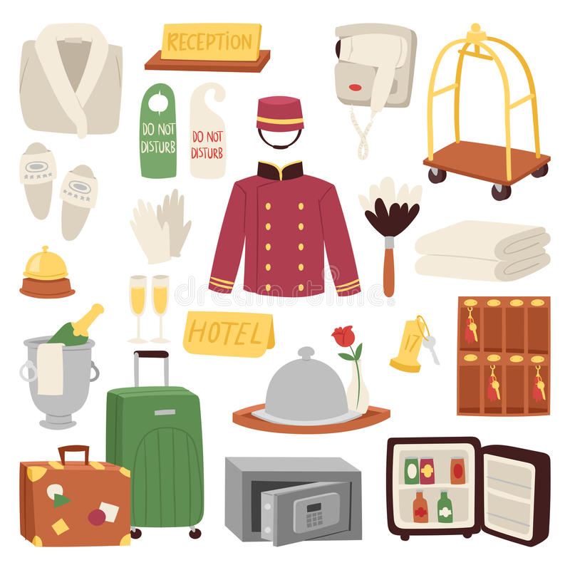 Hotel or accommodation icon set travel symbol service reception luggage suitcase vector illustration. Business cleaning concept door reservation tourist stock illustration