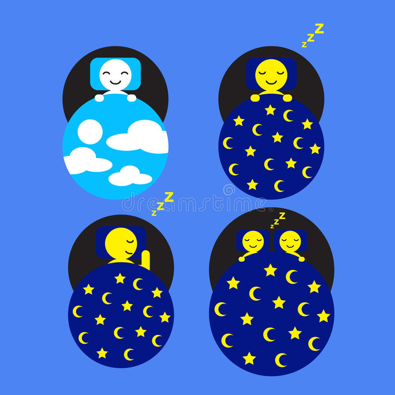 Hotel and Accommodation Sleep Day and Night. Vector and Icon vector illustration