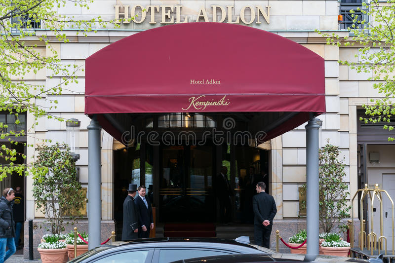 Hotel Adlon Kempinski. BERLIN, GERMANY - APRIL 11, 2014: Hotel Adlon Kempinski. Hotel Adlon is one of the most famous and luxurious hotels in Europe royalty free stock photography