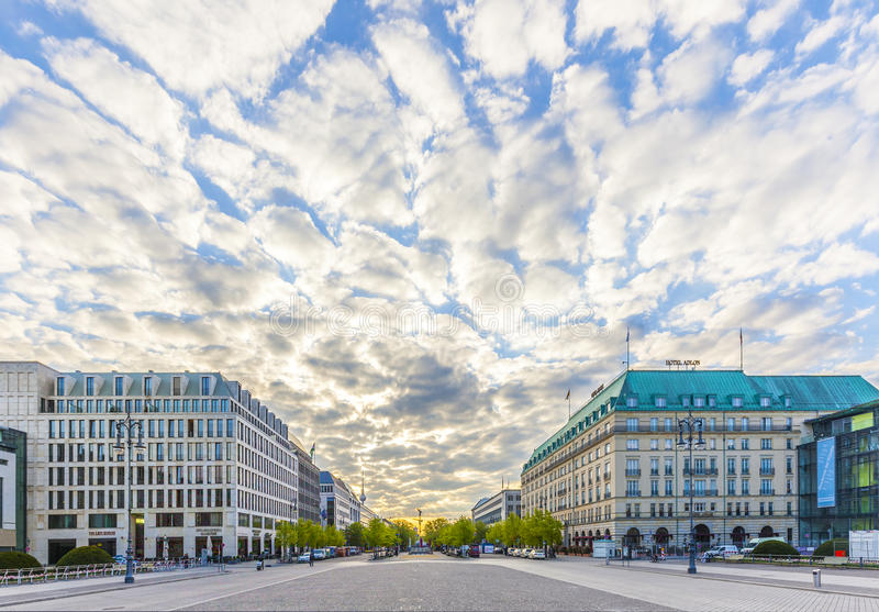 Hotel Adlon Kempinski in Unter den Linden street. BERLIN, GERMANY - MAY 3, 2015: Hotel Adlon Kempinski in Unter den Linden street, Berlin. Famous hotel stock photos