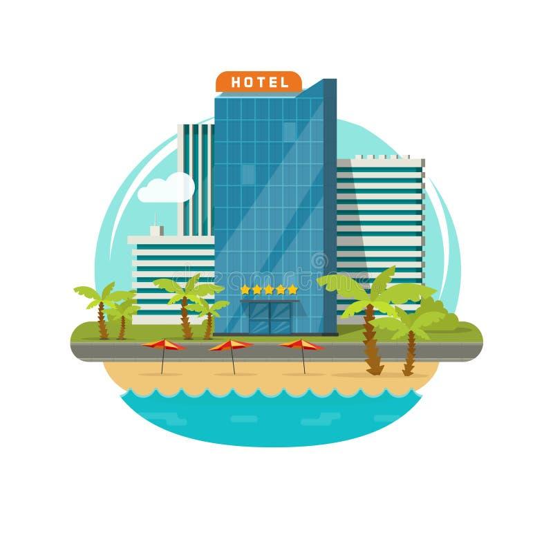Hotel aislado cerca del ejemplo del vector de la opinión del centro turístico del mar o de la orilla del mar, edificio moderno de ilustración del vector