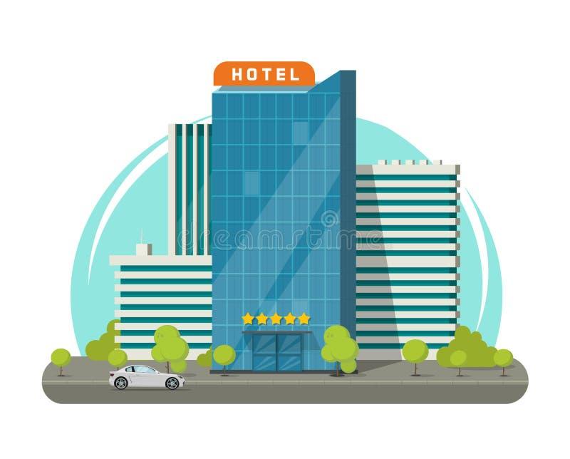Hotel aislado en el ejemplo del vector de la calle de la ciudad, edificio moderno plano del hotel del rascacielos cerca del camin ilustración del vector